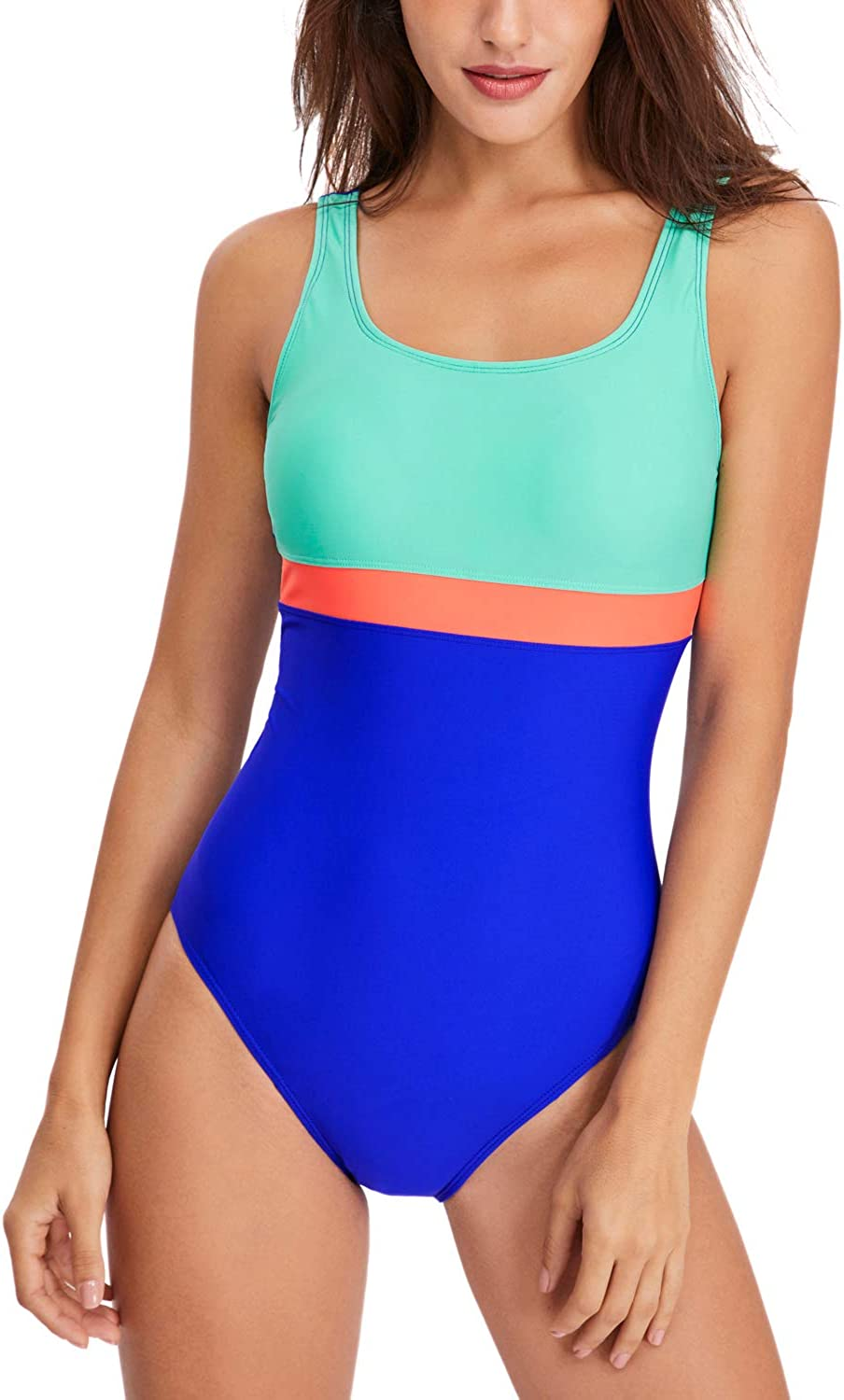 HAIVIDO Women's Athletic One Piece Swimsuits Racing Training Sports Bathing Suit Color Block Swimwear