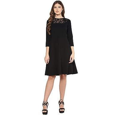 c6ad736595 FEMELLA Women's Black Lace Yoke Midi Dress(DS-731696-1348-BLK-M ...