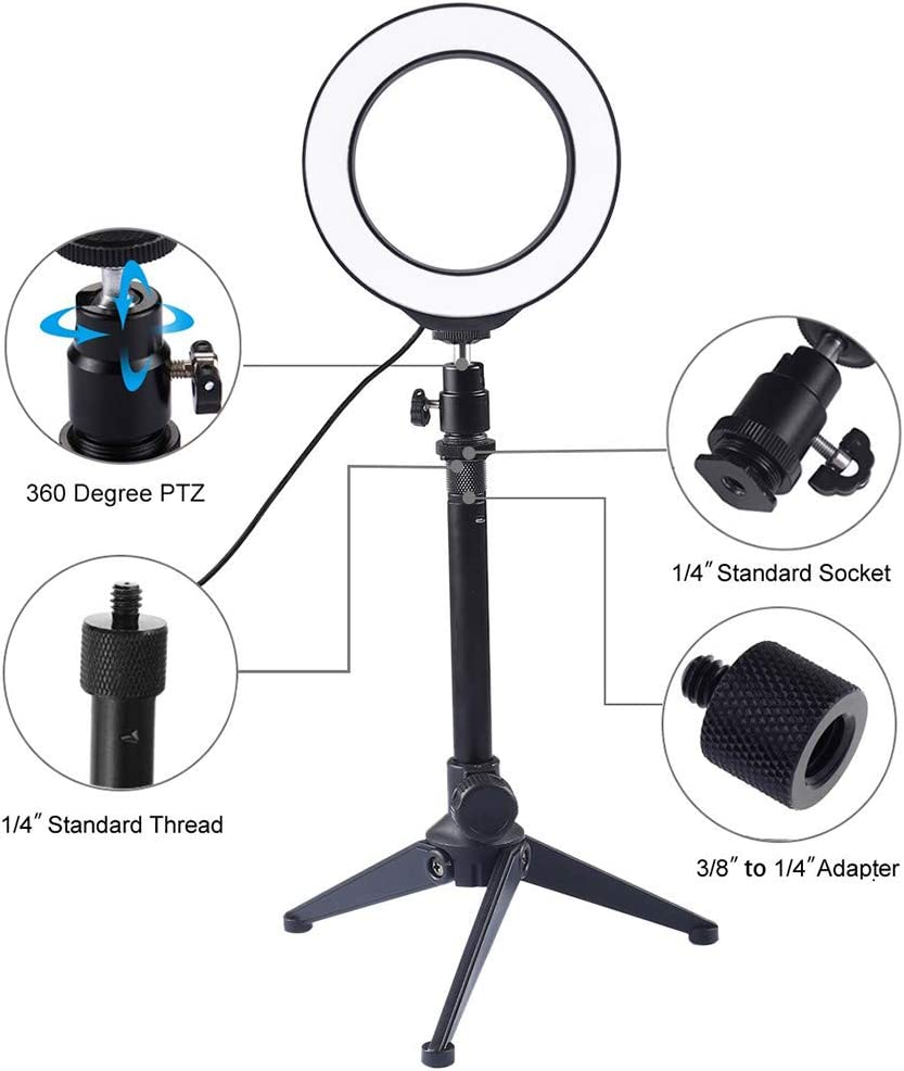 Ring Light 3.5 Inch with Tripod Stand USB 3 Modes LED Ring Video Photography