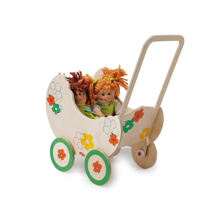 Amazon.es: Dida - Pequeña cochecito de madera para muñecas - Decoración: flores: Juguetes y juegos