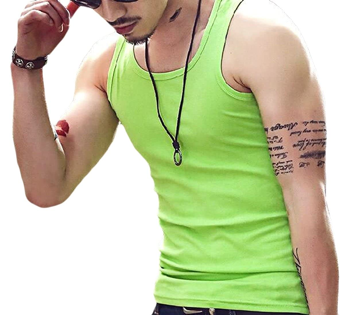 M/&S/&W Men Round Neck Sleeveless Casual Solid Color Hip-Hop Tank Tops