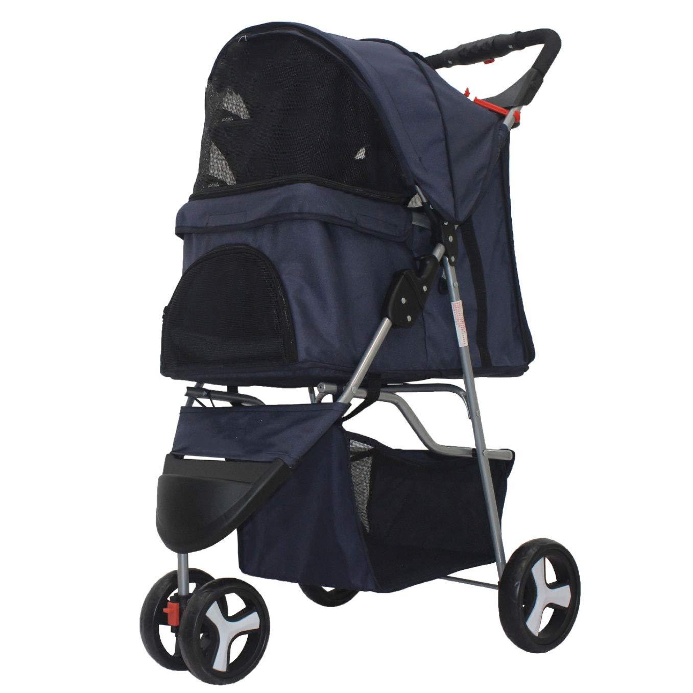 Dark bluee Pet Stroller, Foldable Lightweight Dog Cart, Small and Medium-Sized Dog, Three-Wheeled Pet Car, Teddy Dog Cart (color   Dark bluee)