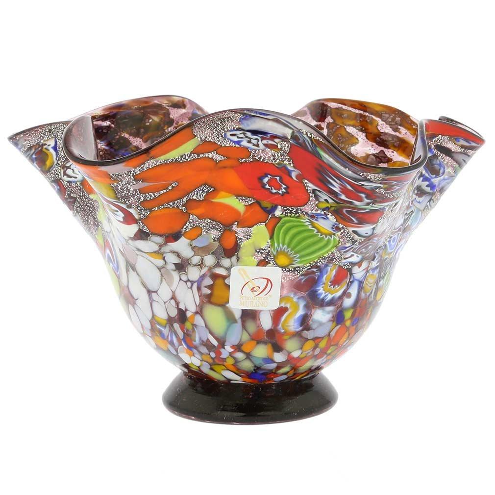 GlassOfVenice Murano Glass Millefiori Fazzoletto Bowl - Silver Purple