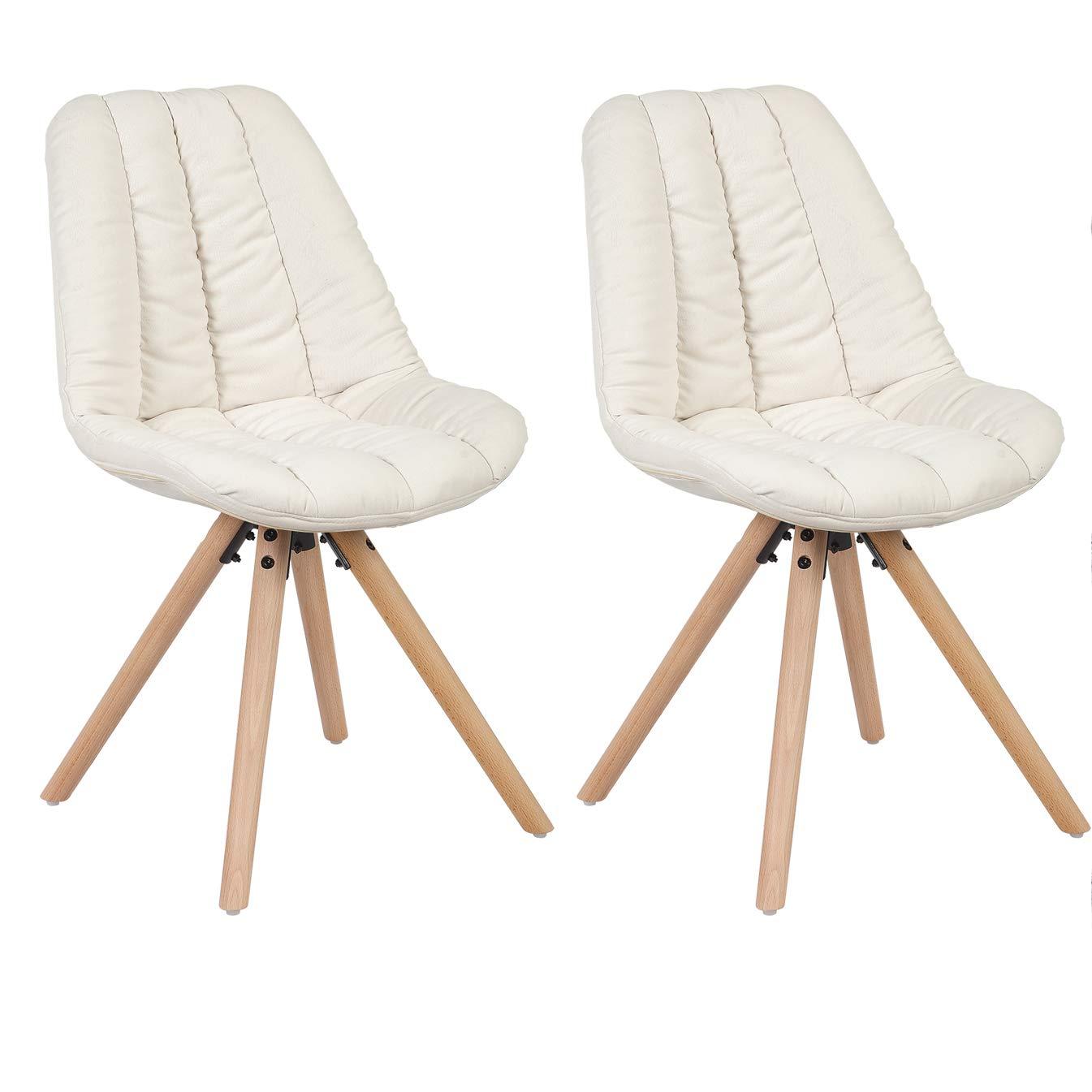WOLTU® BH43cm-2 2 2 2 x Esszimmerstühle 2er Set Esszimmerstuhl Leinen gut gepolstert mit Lehne Design Stuhl Küchenstuhl Holz Creme 411d01