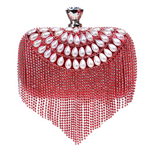 Womens Red Pearls Clutch Bags Outfit Wallet Purse Evening Ladies Wedding Chain Bead Bags Dress nwxpHOqFSI