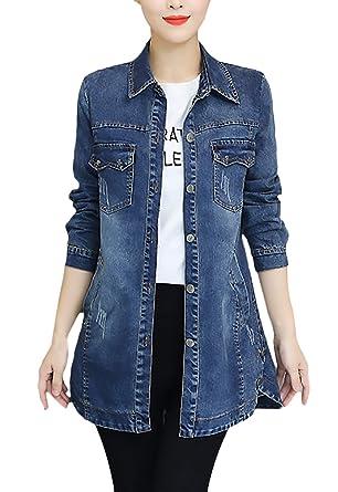 online store 1e187 47893 Jeansjacke Damen Lang Frühling Herbst Oversize Jeans Jacke ...