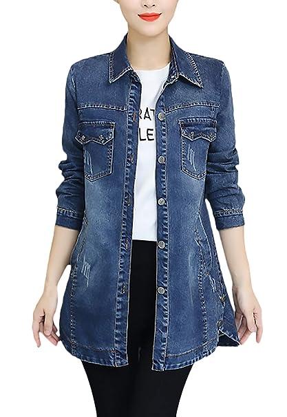 8e6675364f Jeans Giacca Donna Lunga Primaverile Autunno Taglie Forti Jeans ...