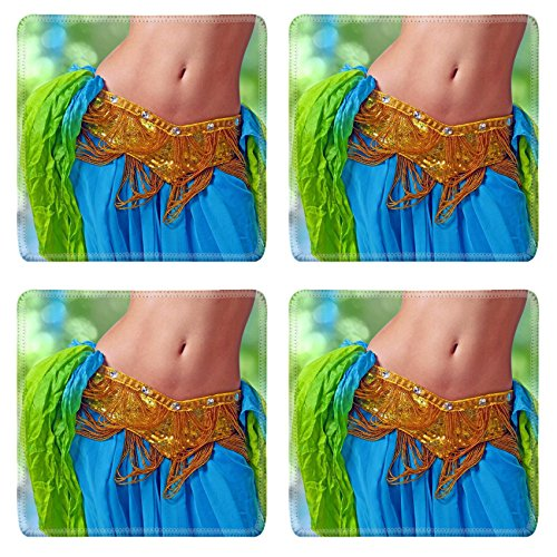 [MSD Natural Rubber Square Coasters Set of 4 IMAGE of dancer woman dance beautiful female dress costume beauty belly dancing performance elegance girl fashion] (Made To Measure Belly Dance Costumes)