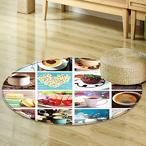 - Round Area Rug Kitchen Collage of Different Photos Coffee Cups Beans Cake Macarons Tasty Food and Drinks Multicolor Living Dinning Room & Bedroom Rugs R-35