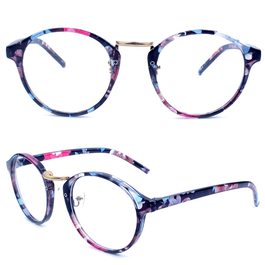 Amrka Retro Round Nerd Glasses for Women Men Vintage Eyeglasses with Round Clear Lens 56mm Unisex (Coloured glaze flower) by Amrka (Image #1)