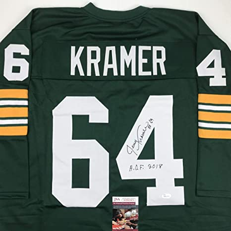 Image Unavailable. Image not available for. Color  Autographed Signed Jerry  Kramer HOF 2018 Green Bay Green Football Jersey ... 74bfb78eb