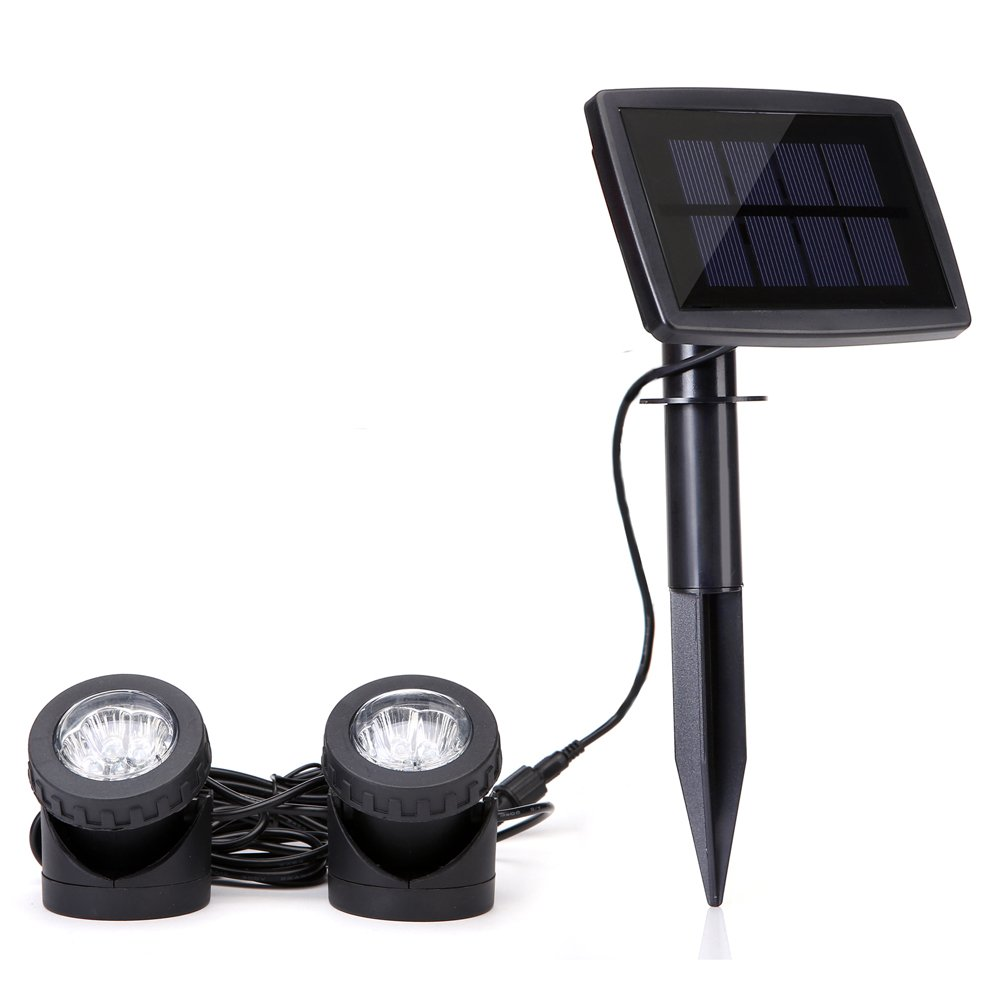 Lawn Solar Powered Spotlights with 2pcs Lamps Holder Waterproof Pond Lights for Ganden,Fountain,Patio White