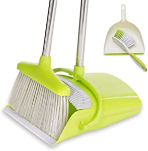BristleComb Broom and Dustpan Set - Variable Handle Length Broom and Dustpan - Includes: Hand Brush and Dustpan Combo - Lightweight and Upright Stand for Cleaning Your Kitchen, Home, and Lobby (Green)