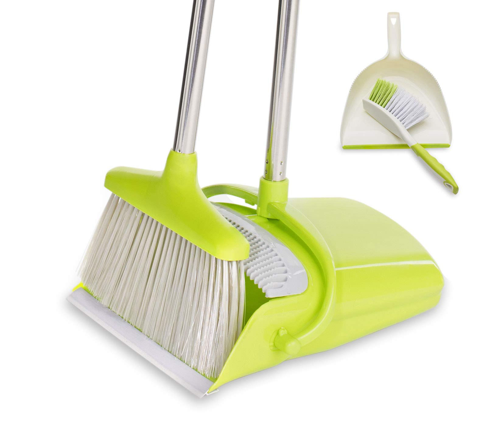 BristleComb Broom and Dustpan Set - Variable Handle Length Broom and Dustpan - Includes: Hand Brush and Dustpan Combo - Lightweight and Upright Stand for Cleaning Your Kitchen, Home, and Lobby (Green) by JFB Home Products (Image #1)