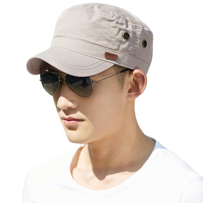 d018188af Siggi Mens 100% Cotton Classic Army Caps Military Hats Baseball Cap for Men  Adjustable(5 Colours 2 Sizes 56-64CM)