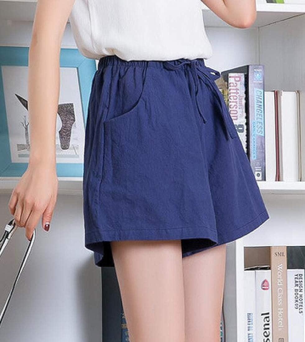 pipigo Womens Wide Leg Waist Drawstring Linen Short Pants Casual Shorts