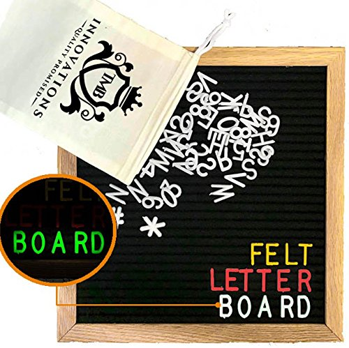 TMB Alphabetz Felt Letter Board with Changeable Letters | 10x10-Inch Changeable Letter Board with Letter Bags and Scissors - 625 White/Gold/Red/Glow-in-the-Dark Letters, Numbers, and - Hours Settlers Green