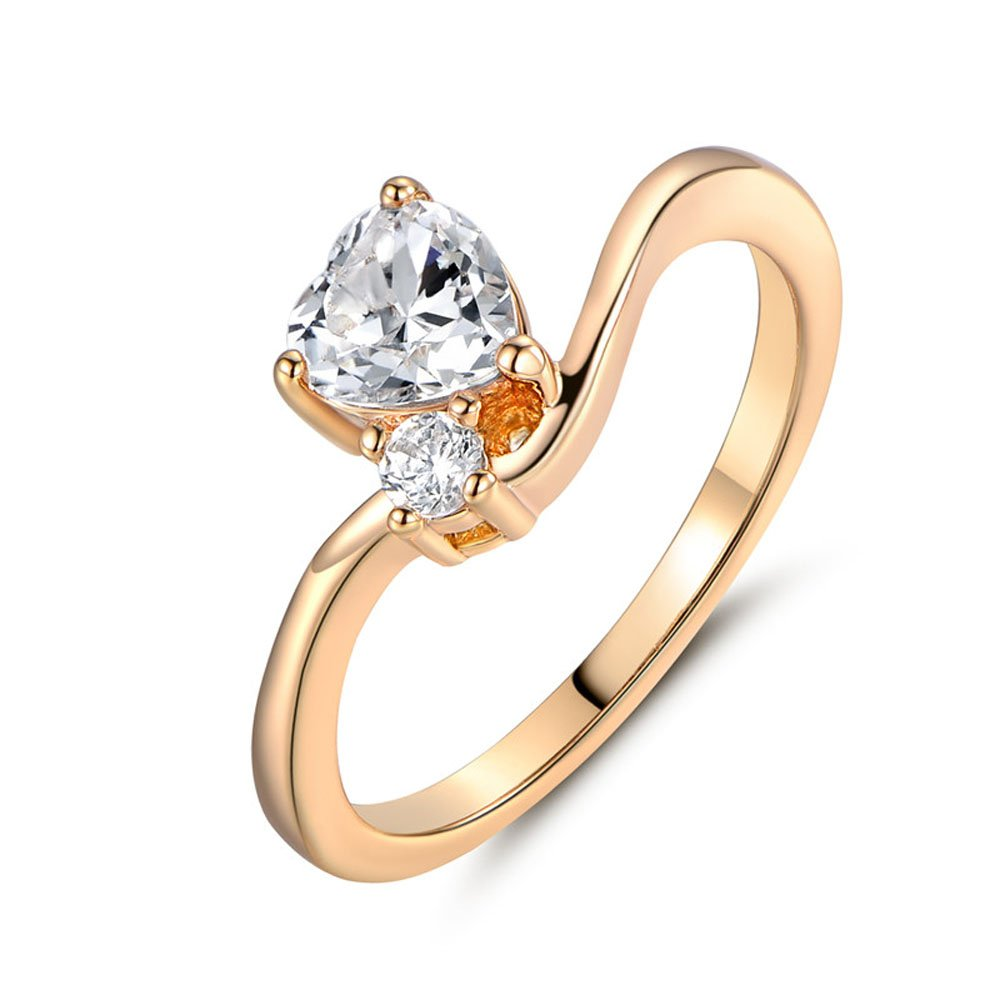T-Ring Fashion Gold Plated Ring for Women White Drop Jewelry Wedding Rings T/&T