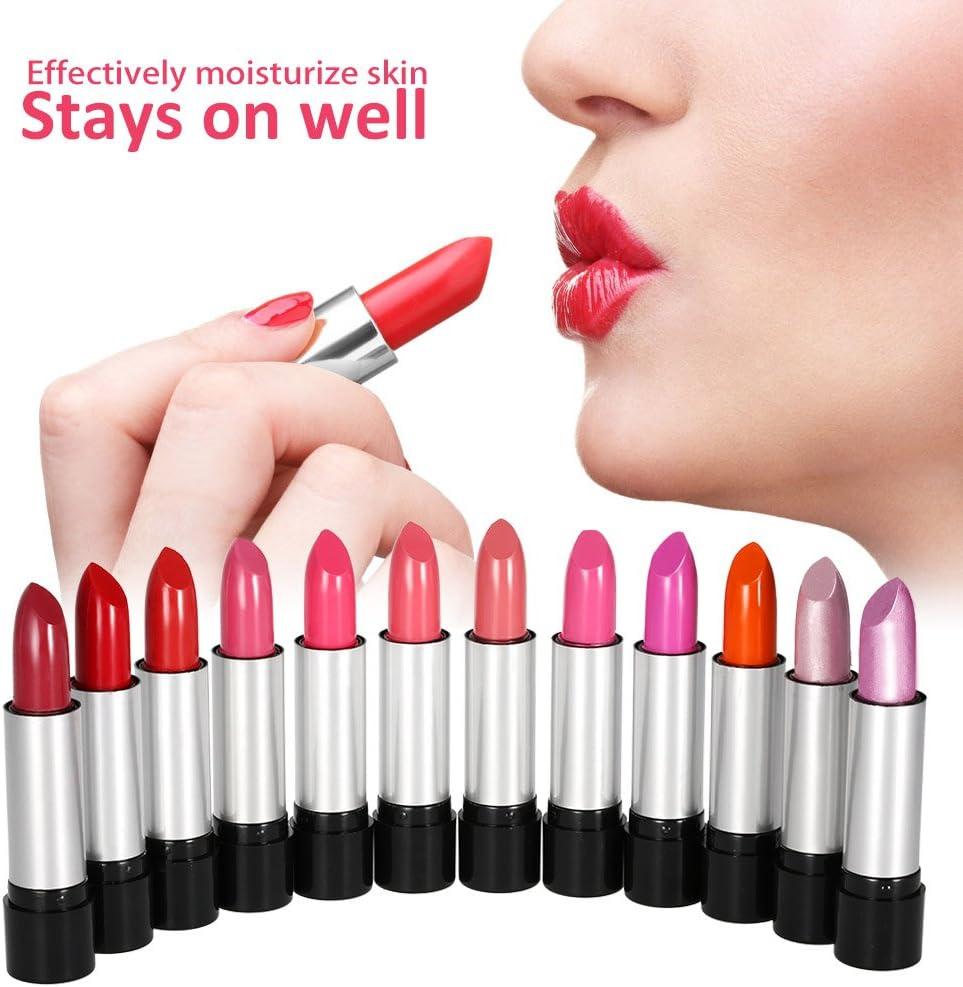 Anself - 12 colores Conjunto de Pintalabios brillante cosmético para maquillaje de labios para moda de mujeres