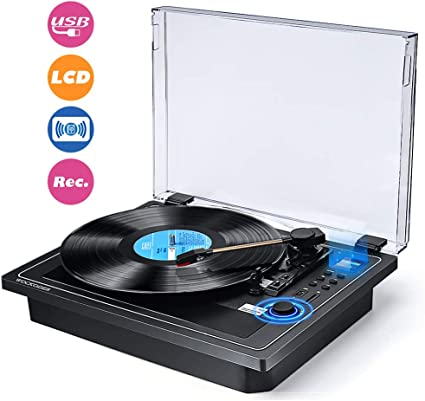 3-Speed Bluetooth Vinyl Turntable Built-in Stereo Speaker Record to MP3 Player