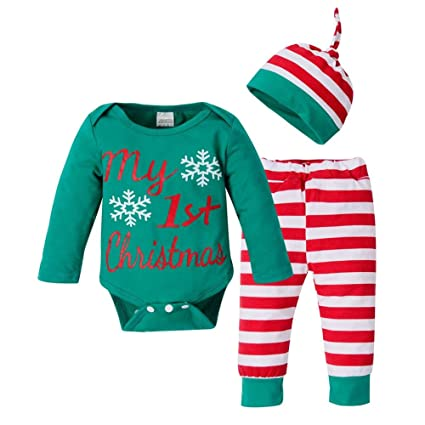 57a372b15b8ee4 Innersetting 3pcs Christmas Newborn Letter Snowflake Romper +Striped Pants  +Hat Set(70): Amazon.in: Baby