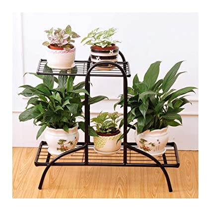 1dc252e7827c Amazon.com: LYQZ Metal 3 Tier Corner Flower Pots Stand, Plant Display Racks  with 5 Pots Shelf Storage Rack for Indoor 21.510.419.5in: Kitchen & Dining