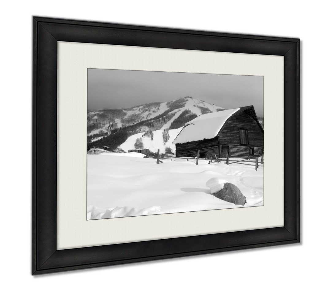 Ashley Framed Prints Snowy Historic Steamboat Springs Colorado Horse Barn, Wall Art Home Decoration, Black/White, 26x30 (frame size), AG6366277 by Ashley Framed Prints