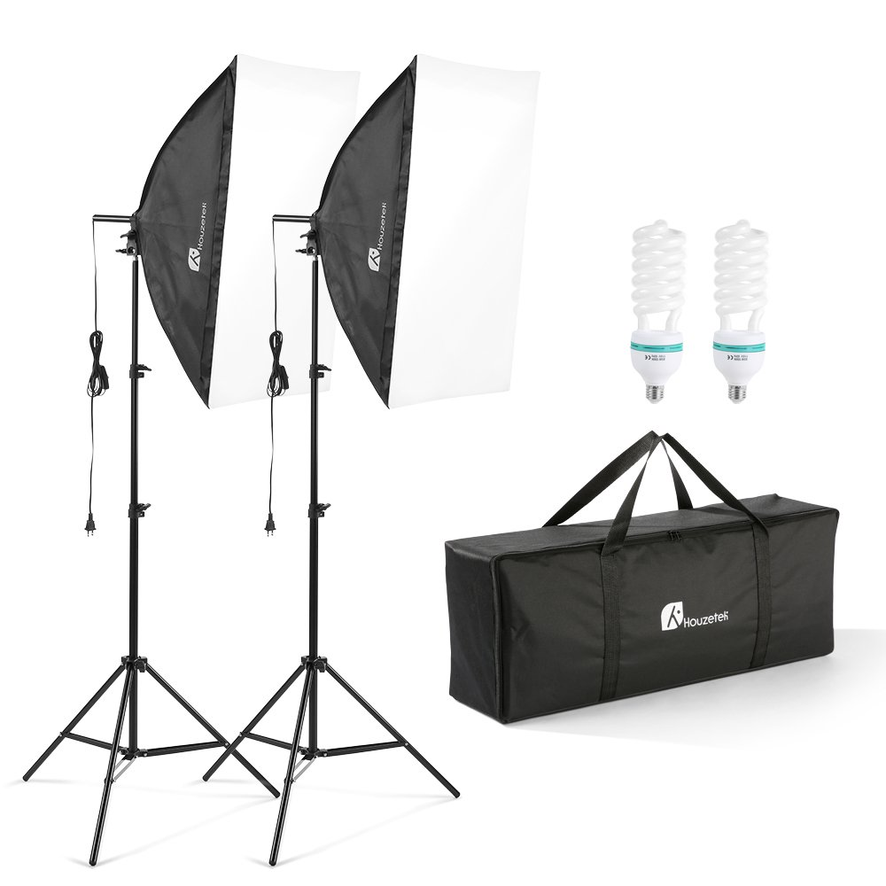 20''X28'' Softbox Photography Lighting Kit, 700W Continuous Lighting System Photo Studio Equipment Photo Model Portraits Shooting Box 2pcs E27 Video Lighting Bulb by Houzetek (Image #1)