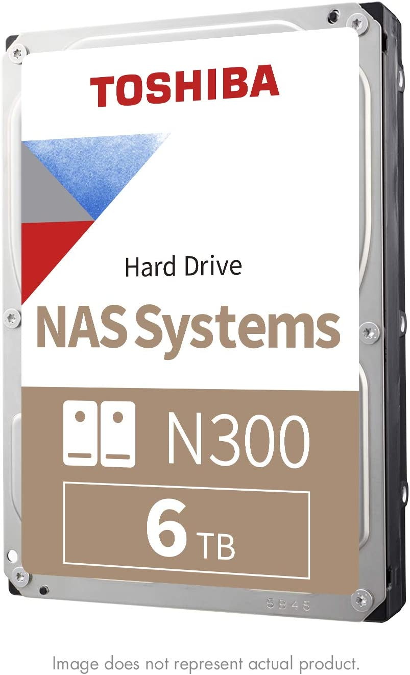 Toshiba N300 6TB NAS 3.5-Inch Internal Hard Drive - CMR SATA 6 GB/s 7200 RPM 128 MB Cache - HDWN160XZSTA