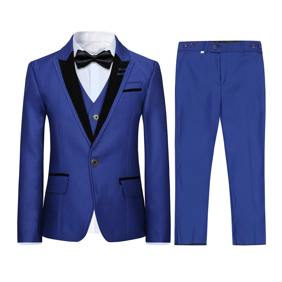Boyland Boys 10 Pieces Formal Suits Classic Peak Lapel Slim Fit Tux Jacket Vest Pants Birthday Party Wedding Blue