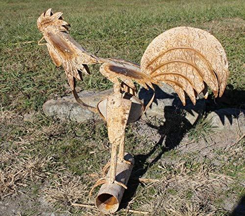 New Folk Art Shabby Chic Rooster Metal Yard Decoration
