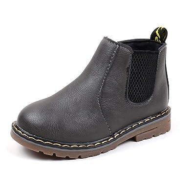 DoGeek Invierno Zapatos para Niños Chicos Chicas Martin Botas Casual Zapatos Planos Antiguos de Cremallera (