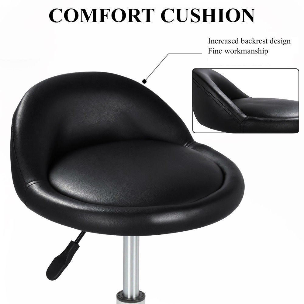 New Rolling Hydraulic Bar Stool Salon Barber Chair Spa Stool Pedicure / Manicure Nail Technician Massage Equipment | Black by Eosphorus (Image #4)