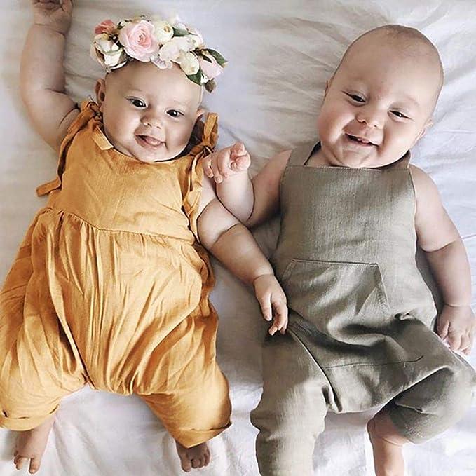 Miyanuby Neonata Neonato Baby Pagliaccetto Cinghia Tinta Unita Abiti Bambino Ragazza Estivi Bodysuit Tuta Monopezzo 0-3 Anni