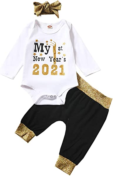 Amazon Com Baby Girl First 2021 New Year Infant Clothes My 1st New Year Romper Legging Pant Headband 3pcs Pajamas Outfits Set Clothing