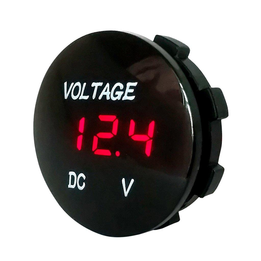 YUNAWU Universal Car Motorcycle Voltage Meter Monitor DC5V-48V LED Panel Digital Voltage Meter Display Voltmeter (Red)