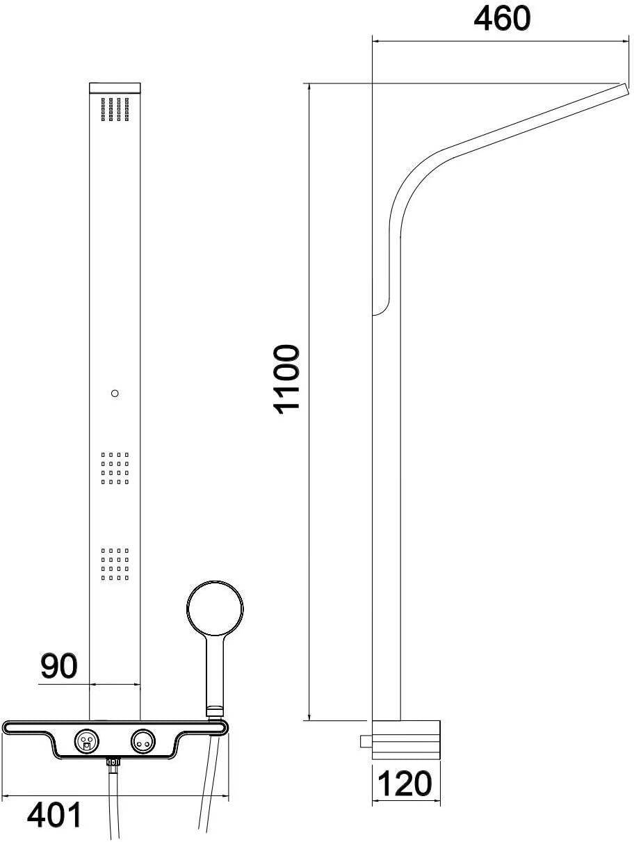Columna de ducha hidromasaje acero inoxidable con 5 a/ños de garant/ía