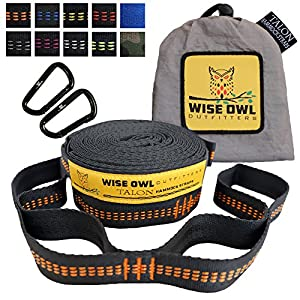 Well-versed Owl Outfitters Talon Hammock Straps - Combined 20 Ft Long, 38 Loops W/ 2 Carabiners - Easily Adjustable, Tree Convivial Must Have Gear For Camping Hammocks Like Eno Orange Stitching