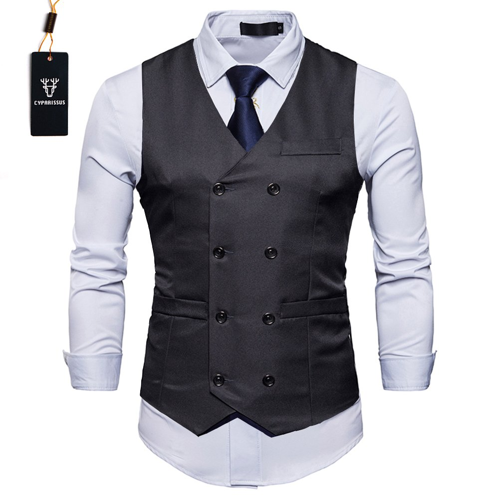 Cyparissus Mens Vest Waistcoat Men's Suit Dress Vest For Men or Tuxedo Vest (XL, Black 3#)