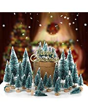 Mini Christmas Trees 34 Pack, Miniature Pine Trees Frosted Sisal Trees with Wood Base Bottle Brush Trees Winter Snow Ornaments Tabletop Trees for Xmas Party, DIY Room Decoration and Diorama Models