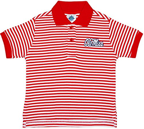 University of Mississippi Ole MIss Rebels Striped Polo Shirt by Creative Knitwear, Red/White, 4T