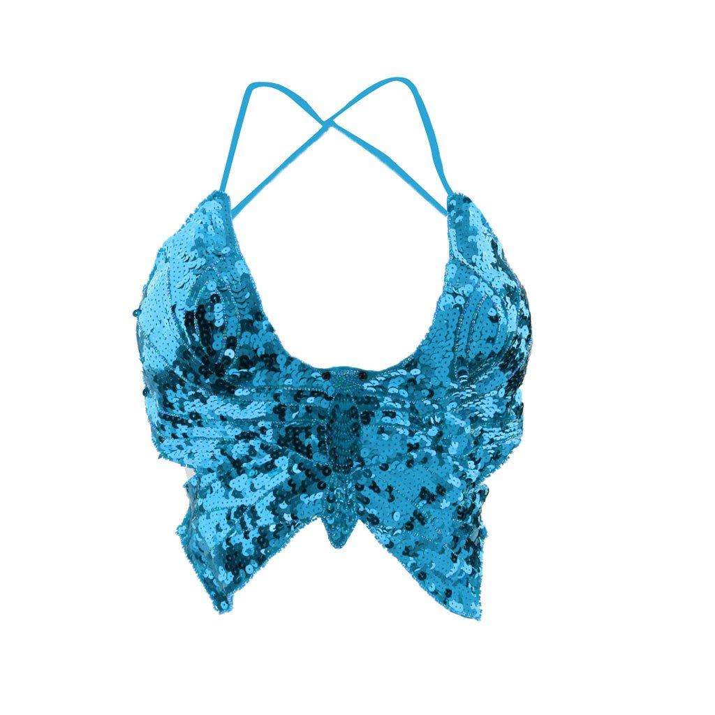 3517b44f377e Blesiya Farfalla Top Reggiseno Di Ballo Danza Del Ventre Di Perline Paillettes  Bra per Donna Ragazze - Blu, Taglia uncia: Amazon.it: Abbigliamento