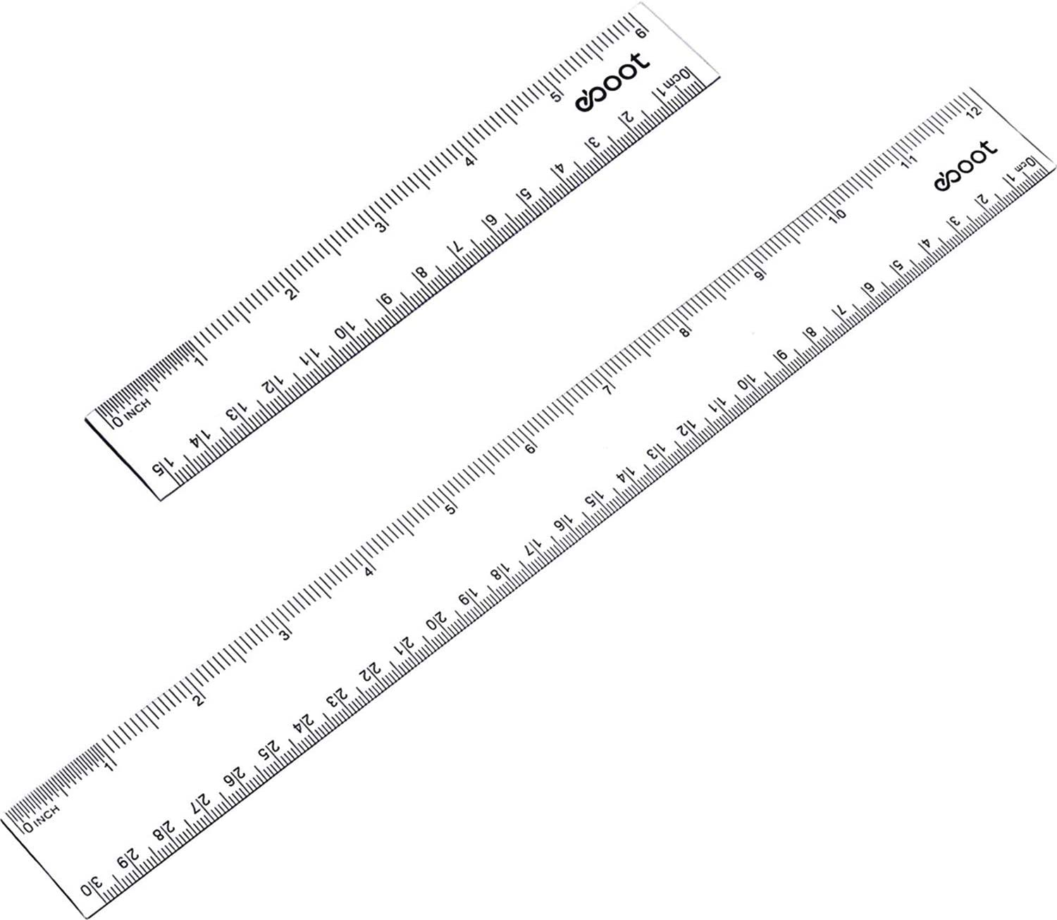 """4 PCS Plastic Ruler Straight Measuring Tool for Student School Office Clear 12/"""""""