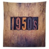1950s Decor Tablecloth 1950s Written in Dirty old Fashioned Letterpress Type on a Aged Stained Wooden Background History Dining Room Kitchen Rectangular Table Cover