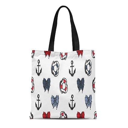 a9d7cd0d02d3 Amazon.com: Semtomn Cotton Canvas Tote Bag Beautiful Ocean Sketch ...