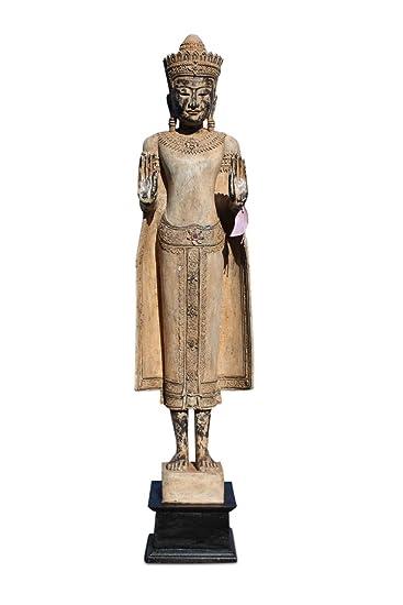 Asien Lifestyle amazon de asien lifestyle kambodscha buddha statue teak holz buddah