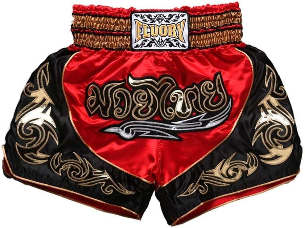 FLUORY Muay Thai Shorts MMA Fight Shorts Ropa de Entrenamiento Jaula Lucha Grappling Artes Marciales Kickboxing Shorts Ropa