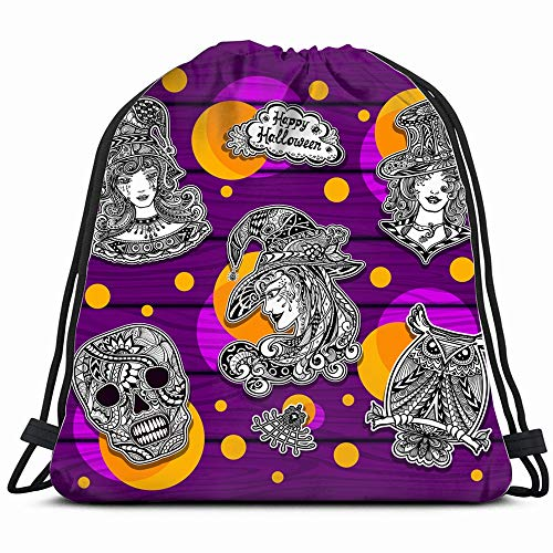 Set Creative Stickers Coloring On Halloween Holidays Miscellaneous Drawstring Backpack Gym Sack Lightweight Bag Water Resistant Gym Backpack For Women&Men For Sports,Travelling,Hiking,Camping,Shopping