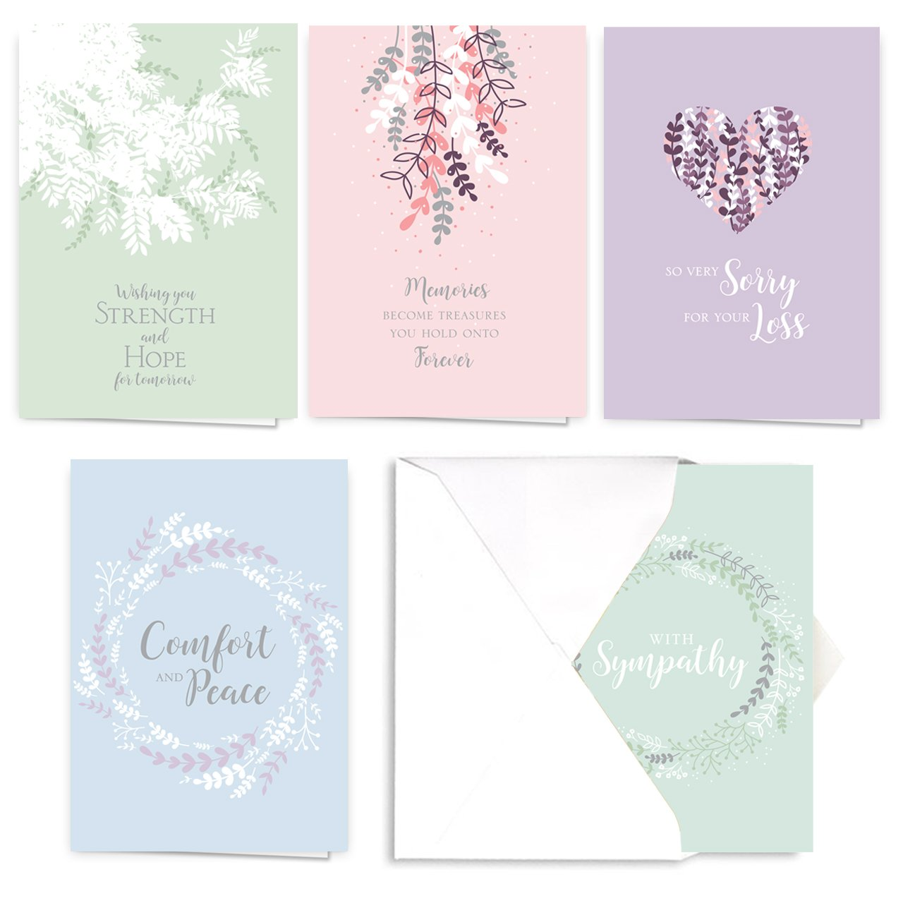 Expressions of Sympathy Assortment Card Pack - Set of 25, 5 designs - 5 cards per design, 5'' x 7''. Verse Sentiments inside. Made in the USA. Blank white envelopes included.