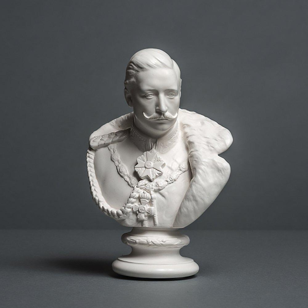 Skulpturenmanufaktur Potsdam Kaiser Wilhelm II - Scultura in cellana di Alta qualità , Lavorata a Mano, 18 cm, Colore: Bianco Alex Agwanjan
